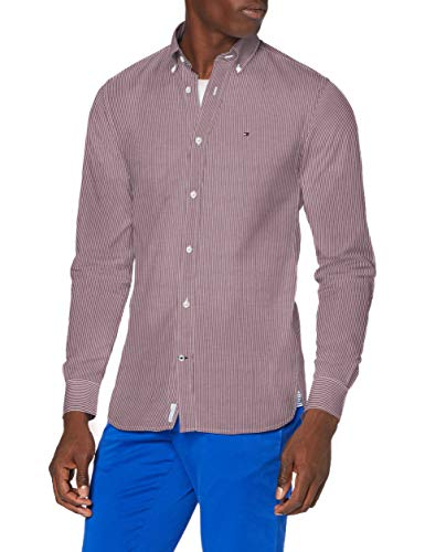 Tommy Hilfiger Peached Soft Stripe Shirt Camicia, Deep Rouge/White, M Uomo