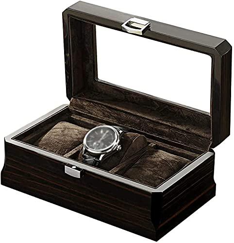 Qasole Montres Box, boîtes de Montre, en regardant la vitrine avec boîte à Bijoux Couvercle en Verre avec de la Nourriture en Velours Beige, Un Oreiller et Le château pour Les Hommes/Femmes