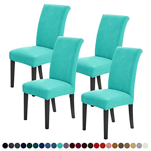 Joccun Chair Covers for Dining Room Set of 4,Water Repellent Dining Chair Slipcovers Stretch Dining Room Chair Covers Seat Protector,Washable Parsons Chair Cover for Home,Banquet(Turquoise,4 Pack)
