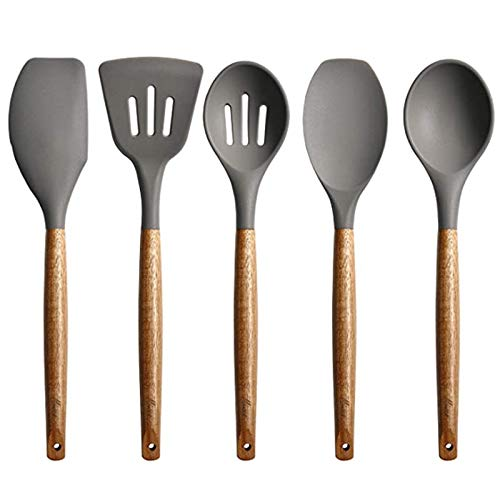 Camisin Set of 5 Silicone Cookware Set, Wooden Handle Spatula, Spoon Brush, Non Stick Cookware, Kitchen Utensils