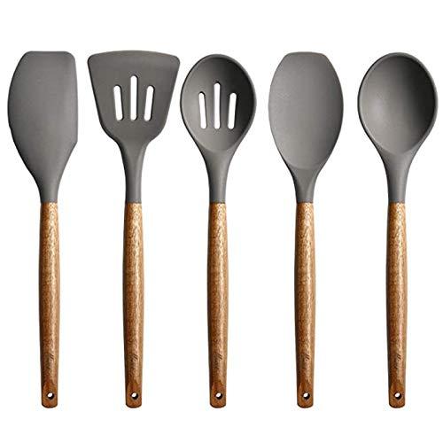 BKAUK Set Von 5 Silikon Koch Geschirr Set, Spatel mit Holz Griff, L?Ffel BüRste, Antihaft Koch Geschirr, KüChenuten Silien