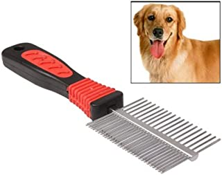 WTYD Pet Supplies Double Sided Handy Stainless Steel Hair Coat Grooming Comb with Plastic Handle for Dog/Cat/Horses