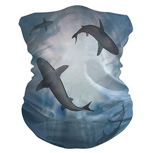 asdew987 Diadema con diseño de animales de mar océano y tiburón, máscara facial, polaina para cuello, bufanda mágica, pasamontañas para mujeres, hombres, niños y niñas