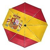 DEZIRO Bandera de España al aire libre, paraguas de apertura automática, resistente al viento, resistente al agua