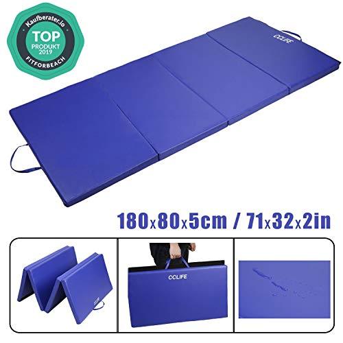 CCLIFE Colchoneta Plegable de Gimnasia Mat Colchoneta Yoga Colchoneta Deportiva Yoga estrilla 4 Pliegues 180/80/5 cm, Color:Azul