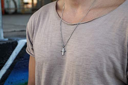 Made by Nami Herren Halskette mit Anhänger - 60 cm Herren Silber-Kette aus Edel-Stahl - Coole Kreuz-Kette - Handmade Glieder-Kette - Männer-Kette - Geschenk Geburtstag für Ihn (Silber Kreuz)