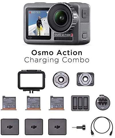 DJI Osmo Action Charging Combo, Camera Digitale con Kit Accessori Incluso, Doppio Display, Fino a 11 m, Resistente all'Acqua, Stabilizzazione Integrata, Foto e Video in 4K HDR a 100 Mbps, Nero
