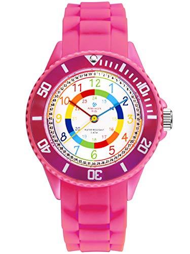 Alienwork Kids Lernuhr Kinderuhr Mädchen Uhrzeit Lernen Rosa Silikon-Armband Mehrfarbig Kinder-Uhr Wasserdicht 5 ATM