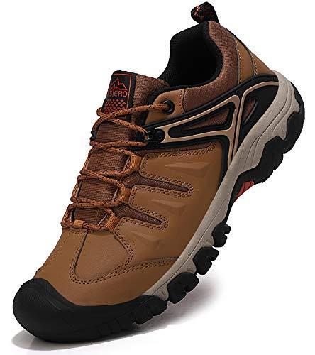 ASTERO Wanderschuhe Herren Trekkingschuhe Low Wanderhalbschuhe rutschfeste Schuhe Männer Outdoor Leichte Hiking Schnüren Wanderstiefel Größe 41-46 (BRAUN, Numeric_42)