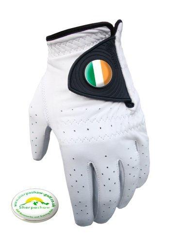 Sherpashaw Cabretta-Leder Herren Golf Handschuh mit Irland Ballmarker und freie Ballmarker XL