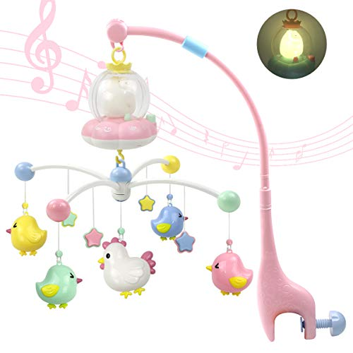 MARUMINE Baby Musical Crib Mobile with Night Light and Music, Hanging Rotate Rattles, Multifunctional Music Box, Toy for Newborn 0-24 Months Infant Boys Girls Sleep (Pink)