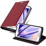 Cadorabo Hülle für Samsung Galaxy S5 Mini / S5 Mini DUOS in Apfel ROT - Handyhülle mit Magnetverschluss, Standfunktion & Kartenfach - Hülle Cover Schutzhülle Etui Tasche Book Klapp Style