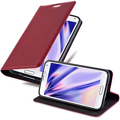 Cadorabo Hülle für Samsung Galaxy S5 Mini / S5 Mini DUOS - Hülle in Apfel ROT – Handyhülle mit Magnetverschluss, Standfunktion und Kartenfach - Case Cover Schutzhülle Etui Tasche Book Klapp Style