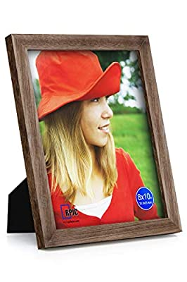 RPJC 8x10 Picture Frames Made of Solid Wood High Definition Glass for Table Top Display and Wall Mounting Photo Frame Carbonized