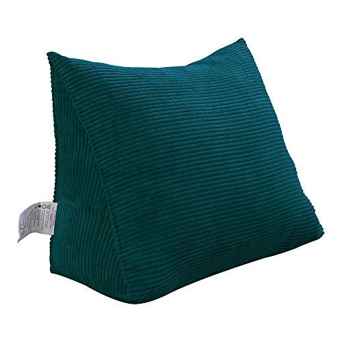 VERCART Rückenkissen Dreieckig Kopfkissen Keilkissen Palettenkissen Weich und Bequem aus Softer Waschbar Jeans Blau 45cm