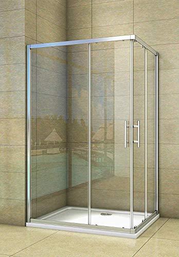 Aica Sanitär duschkabine 90 x 90 cm eckeinstieg eckkabine duschabtrennung schiebetür sicherheitsglas 190cm