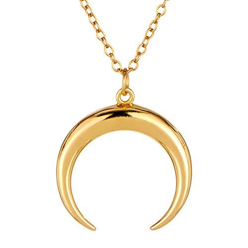 Brandlinger ® Atelier Halskette aus vergoldetem 925 Sterling Silber mit Mond Anhänger für Frauen. Kettenlänge 40 cm + 5 cm