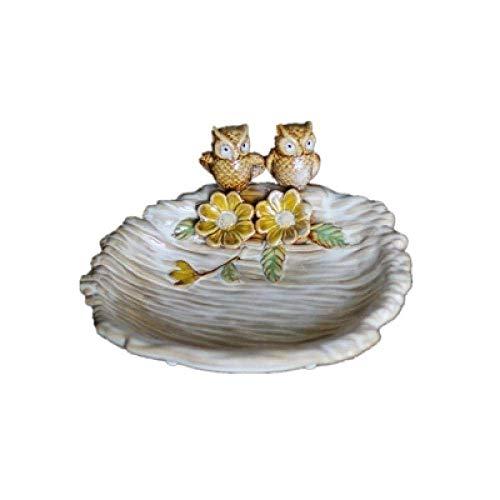 YIONGA CAIJINJIN Estatua Arte Decoraciones del Arte del búho frutero de cerámica salón tazón Clave de Almacenamiento decoración del hogar