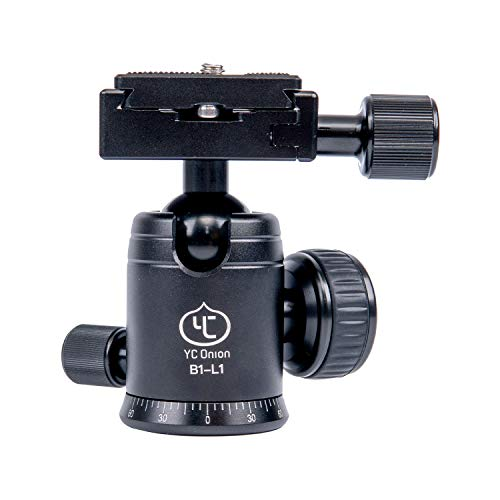 """YC Onion Ballhead with Quick Release Bubble Level 360 Degree Pan 1/4"""" & 3/8' Screw Base Mount 90 Degree Articulating for Camera Tripod DSLR Monopod Slider Camcorder"""