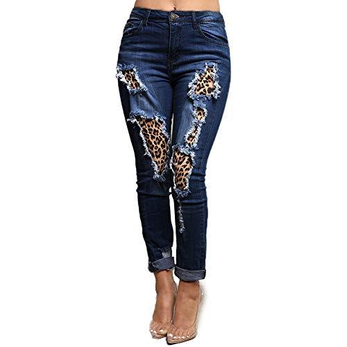 CQXT Primavera 2020 nuevos Pantalones Vaqueros Rasgados Ajustados Costura Leopardo Ebay Amazon Eg1062 Comercio Exterior