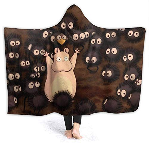 KINGAM Spirited- Away-Soot Sprites - Manta con capucha, súper suave, hipoalergénica, felpa, sofá, sala de estar