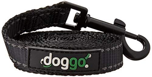 Doggo Everyday Nylon Leash with Reflective Accents, 5' Long, Medium, Black