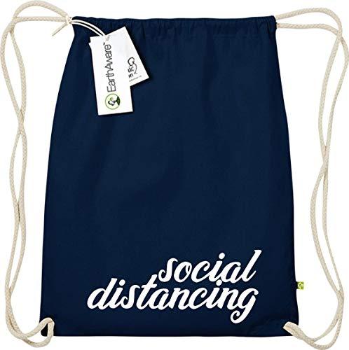 Shirtstown - Mochila de gimnasio (separación social social, comercio justo ecológico, bolsa de deporte, crisis, cohesión, emergencia, sociedad, agradecimiento, gracias), color Negro , tamaño talla única