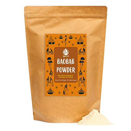 SACO Superfoods Baobab Powder, Natural, sustainably Produced and Ethically sourced Baobab Fruit Pulp Powder, Gluten-Free and Vegan (600g Pack)
