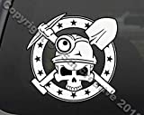 myrockshirt Bergbau abbau Totenkopf Skull Hobby Beruf ca. 20cm Aufkleber Sticker Autoaufkleber Auto Lack Scheibe Profi Qualität UV&Waschanlagenfest Decal