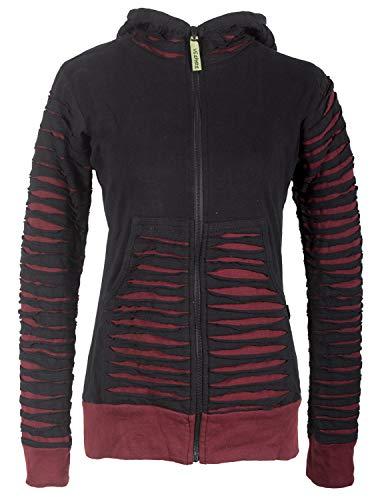Vishes - Alternative Bekleidung - Damen Patchworkjacke Kapuzenjacke Hoodie Baumwolle Cutwork Streifen schwarz-dunkelrot 42