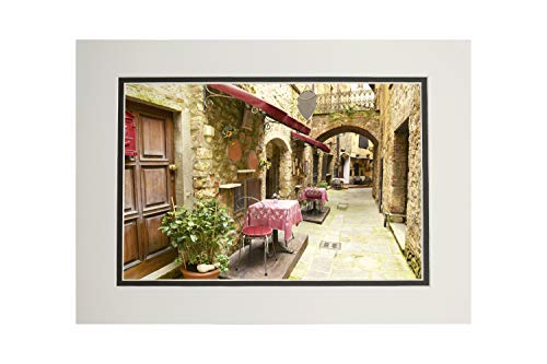 Tuscany, Italy - Alley Restaurant Seating - Photography A-92481 (11x14 Double-Matted Art Print, Wall Decor Ready to Frame)