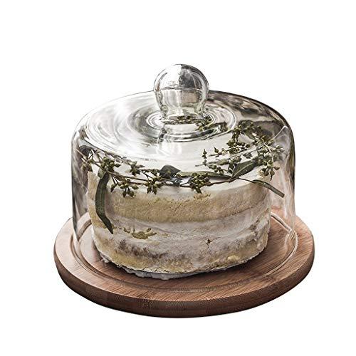 XZG-Tableware Dessert Tray, Glas Transparent Abdeckung Nachmittagstee Kuchen Dome Holzpalette Käseplatte Abdeckung Chip & Dip Server (Size : 6 inches)