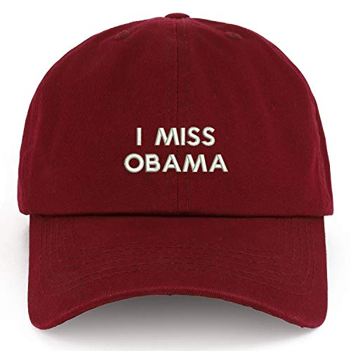 Trendy Apparel Shop XXL I Miss Obama Embroidered Unstructured Cotton Cap - Burgundy