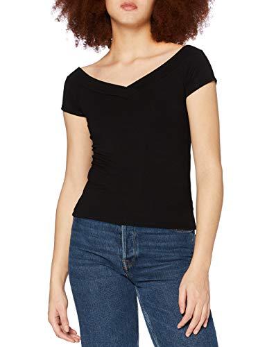 PIECES Damen PCMALIVA SS Off Shoulder V-Neck TOP NOOS T-Shirt, Black, XL