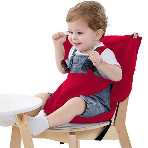 Baby portable Hochstuhlabdeckung tragbarer Hochstuhl mobile baby Reise Baby Hochstuhl Sicherheitsgürtel/Esszimmerstuhl/faltbar und tragbar (Rot)