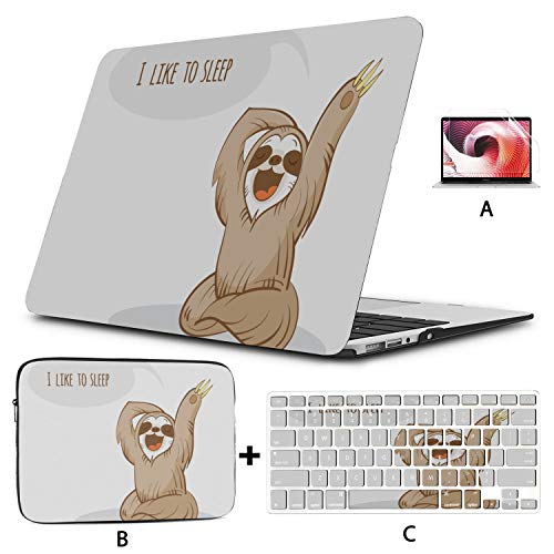 MacBook Protective Case Lovely Cartoon Sloth MacBook Pro Retina Case Hard Shell Mac Air 11'/13' Pro 13'/15'/16' with Notebook Sleeve Bag for MacBook 2008-2020 Version