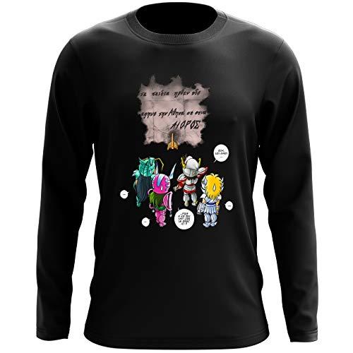 Okiwoki T-Shirt à Manches Longues Noir Saint Seiya parodique Seiya, Shiryu, Hyoga et Shun dans la Maison d'Aioros : 4 touristes Japonais perdus en Grèce. (Parodie Saint Seiya)