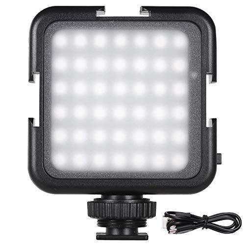 Andoer 42 LED Luce Fotografia Ricaricabile, faretto fotografia USB, Mini Luce Video 2-luminosità per DSLR Videocamera Gimbal Macro Fotografia