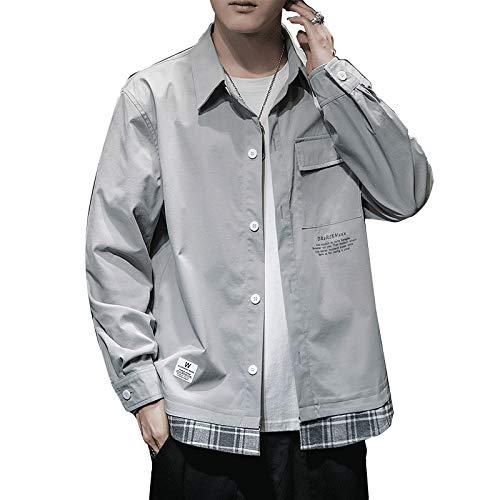 Camisa de Solapa con Costuras de Personalidad para Hombre, Moda Relajada, Tendencia de Ropa de Calle, Camisa de Manga Larga de Gran tamaño con Bolsillo Lateral 4XL