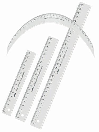 LINEX 100552561 Flex Flexibles-Lineal 30 cm unzerbrechlich unkaputtbar transparent, kann grenzenlos verdreht werden, für Beruf, Hobby und Schule