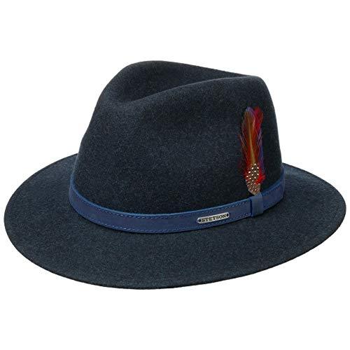STETSON Chapeau Powell Traveller Homme - Made in The EU en Feutre de Laine pour d'extérieur avec Bandeau Cuir Printemps-été - M (56-57 cm) Bleu