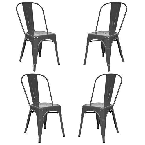 Vaukura Silla Tolix(Pack 4) - Silla Industrial Metálica Brillo (Gris)