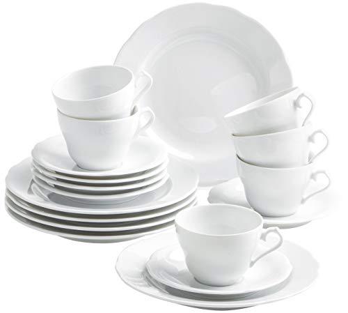 Kahla 1R0290O9001RB Basic Kaffeeservice Porzellan für 6 Personen Teeservice Geschirrset 18-teilig weiß rund Tassen Teller Untertassen klassisch modern