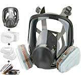 Reusable Full Face Respirator Mask with Filters, Silicone Reusable Anti-Fog Lens Cover Eye Protection Gas Mask, Wide Field of View Anti-dust Respirator for Painting Dust Facepiece Work Protection