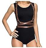 keland Damen Frauen verstellbaren einstellbar Ledergürtel Mode Bondage Körper Persönlichkeit Körperschmuck Nachtclubs (Coffee)