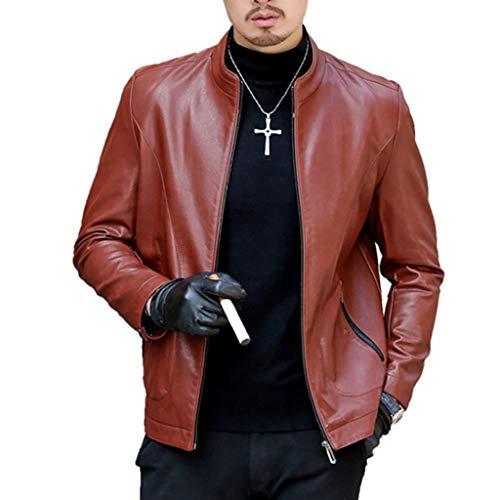 Lederjacke für Mann Biker Fashion Herbst-Winter-Lederjacken Bomberjacken Klassische Warm Overcoat Slim Fit Military Field Jacket,C-M