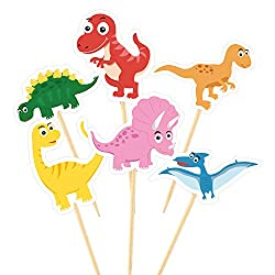8. TUPARKA Cute Dinosaur Cupcake Toppers (60 Pack)