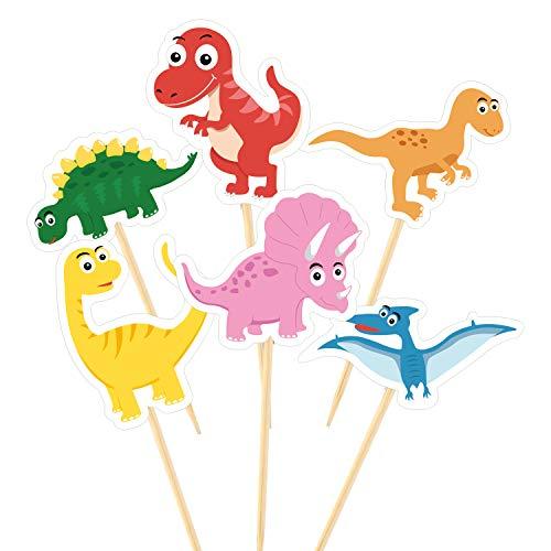 TUPARKA 60 Stücke Dinosaurier Cupcake Toppers Picks Nette Baby Dinosaurier Kuchen Topper für Dinosaurier Party Dekoration Lieferungen