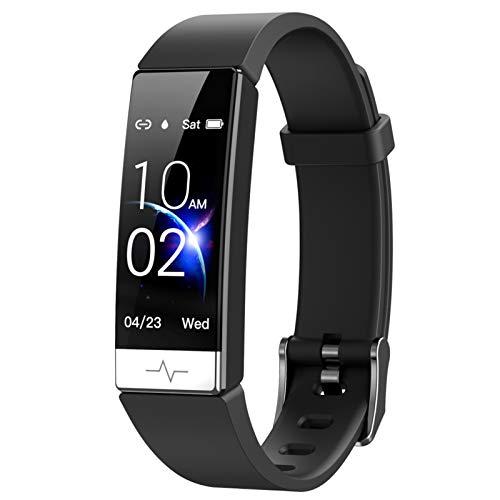 FFF8 Pulsera Inteligente Monitor De Ritmo Cardíaco Sangre Presenta Whatsapp Recordatorio Impermeable IP68 SmartBand para iOS Android Black