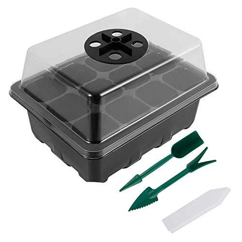 3 Pack Mini Serre pour Semis Plateau de Semis Bac à Semis avec Couvercle 12 Cellules par Plateau pour Démarrage Germination Croissance Semence (3PCS)